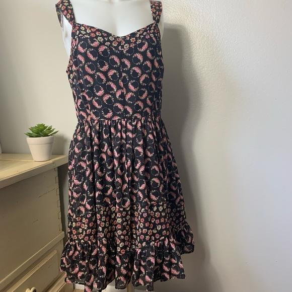 cfd8576cf234 LC Lauren Conrad Dresses | Lauren Conrad Black Floral Ruffle Dress ...